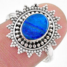1.72cts solitaire natural doublet opal australian silver ring size 8.5 t27414