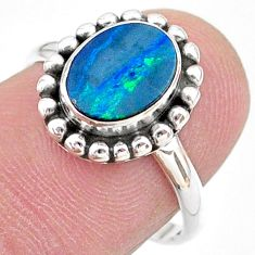 1.79cts solitaire natural doublet opal australian silver ring size 7.5 t27417