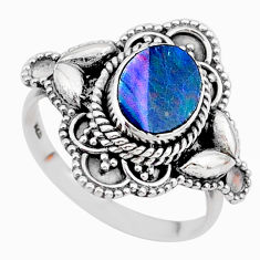 2.12cts solitaire natural doublet opal australian silver ring size 7.5 t27442