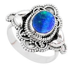 2.23cts solitaire natural doublet opal australian silver ring size 6.5 t27444