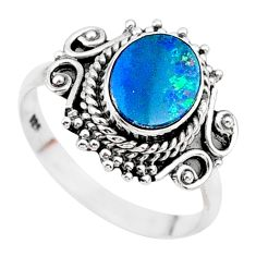 2.53cts solitaire natural doublet opal australian silver ring size 7.5 t27449
