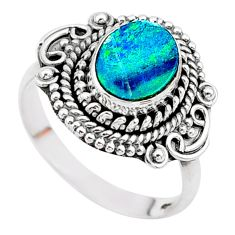 2.01cts solitaire natural doublet opal australian silver ring size 7.5 t27457