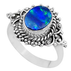 2.09cts solitaire natural doublet opal australian silver ring size 6.5 t27561