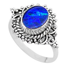2.11cts solitaire natural doublet opal australian silver ring size 7.5 t27568