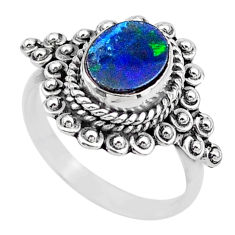 2.19cts solitaire natural doublet opal australian silver ring size 6.5 t27570