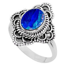 2.17cts solitaire natural doublet opal australian silver ring size 7.5 t27571