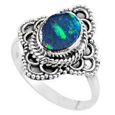 2.17cts solitaire natural doublet opal australian silver ring size 8.5 t27576