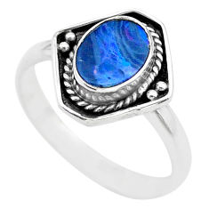1.43cts solitaire natural doublet opal australian silver ring size 6.5 t29185