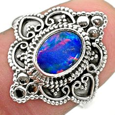 1.63cts solitaire natural doublet opal australian silver ring size 7.5 t30666