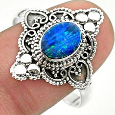 1.71cts solitaire natural doublet opal australian silver ring size 10.5 t30676