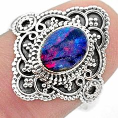 1.63cts solitaire natural doublet opal australian silver ring size 7.5 t30810