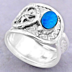 1.17cts solitaire natural doublet opal australian silver ring size 7.5 t32477