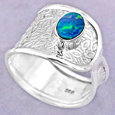 1.06cts solitaire natural doublet opal australian silver ring size 7.5 t32484