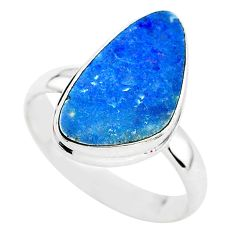 5.38cts solitaire natural doublet opal australian silver ring size 8.5 t3401