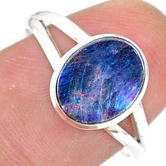 2.42cts solitaire natural doublet opal australian silver ring size 8.5 t34619