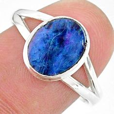2.10cts solitaire natural doublet opal australian silver ring size 8.5 t34625