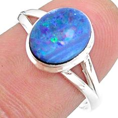2.43cts solitaire natural doublet opal australian silver ring size 7.5 t34633