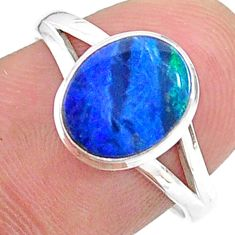 2.31cts solitaire natural doublet opal australian silver ring size 7.5 t34637