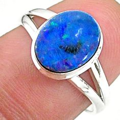 10.64cts solitaire natural doublet opal australian silver ring size 6.5 t34710