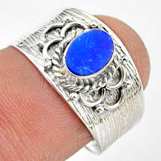 0.98cts solitaire natural doublet opal australian silver ring size 7.5 t42283