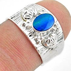1.09cts solitaire natural doublet opal australian silver ring size 6.5 t42288