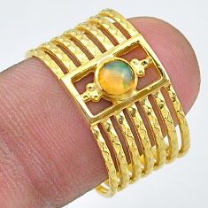 0.36cts solitaire natural ethiopian opal 14k gold handmade ring size 8 t33137
