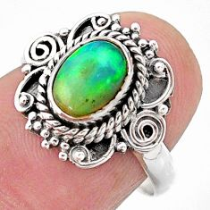 2.08cts solitaire natural ethiopian opal 925 silver ring jewelry size 7 t27331