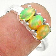 2.49cts solitaire natural ethiopian opal 925 silver ring jewelry size 8 t24014