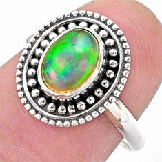 2.42cts solitaire natural ethiopian opal 925 silver ring jewelry size 7.5 t27329