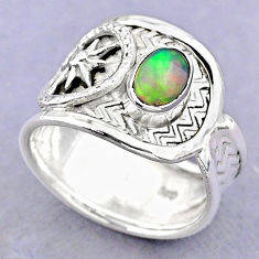 1.34cts solitaire natural ethiopian opal 925 silver ring size 7.5 t32343