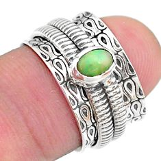 0.66cts solitaire natural ethiopian opal 925 silver spinner ring size 6 t31734