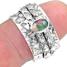 0.71cts solitaire natural ethiopian opal 925 silver spinner ring size 8 t31759