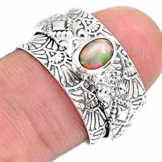 0.69cts solitaire natural ethiopian opal 925 silver spinner ring size 6.5 t31460