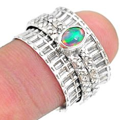 0.69cts solitaire natural ethiopian opal 925 silver spinner ring size 6.5 t31477
