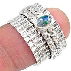 0.66cts solitaire natural ethiopian opal 925 silver spinner ring size 6.5 t31479