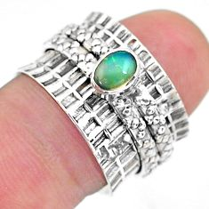 0.71cts solitaire natural ethiopian opal 925 silver spinner ring size 6.5 t31480