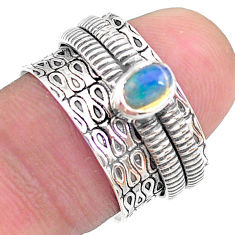0.71cts solitaire natural ethiopian opal 925 silver spinner ring size 6.5 t31736