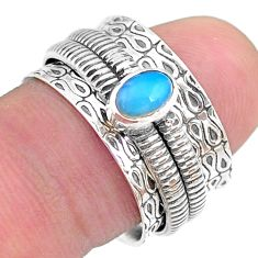 0.73cts solitaire natural ethiopian opal 925 silver spinner ring size 7.5 t31738