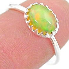 1.95cts solitaire natural ethiopian opal 925 sterling silver ring size 7 t22263