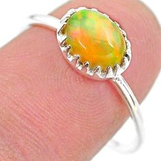 1.93cts solitaire natural ethiopian opal 925 sterling silver ring size 8 t22262