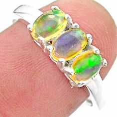 2.48cts solitaire natural ethiopian opal oval 925 silver ring size 8 t23852