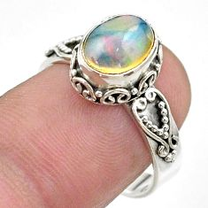 3.01cts solitaire natural ethiopian opal oval 925 silver ring size 7.5 t44580