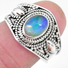 2.19cts solitaire natural ethiopian opal oval shape silver ring size 8 t10260