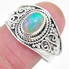 2.20cts solitaire natural ethiopian opal oval shape silver ring size 9 t10244