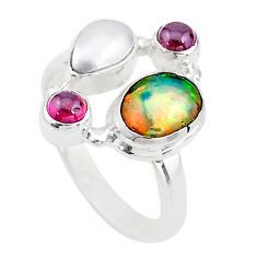 6.54cts solitaire natural ethiopian opal pearl 925 silver ring size 8.5 t15548