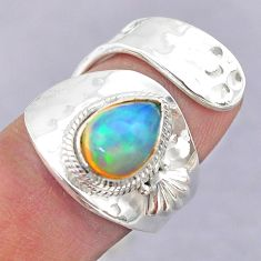 2.12cts solitaire natural ethiopian opal silver adjustable ring size 6.5 t32165