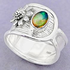 1.51cts solitaire natural ethiopian opal silver flower ring size 7.5 t32342