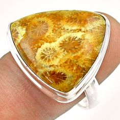 16.70cts solitaire natural fossil coral petoskey stone silver ring size 9 t54369
