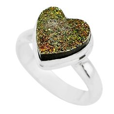 4.84cts heart golden pyrite druzy 925 silver handmade ring size 6 t21769