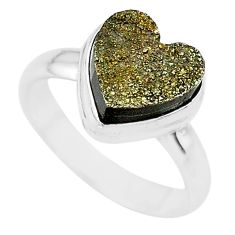 5.36cts heart golden pyrite druzy 925 silver handmade ring size 7 t21763